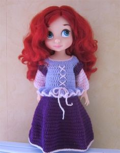 Doll Clothes / Disney Animator Doll Ariel / Crochet