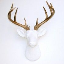 nearanddeer.com Large Deer Head - White and Bronze Deer Head Wall Mount - 14 Point Stag Head Antlers Faux Taxidermy ND0109