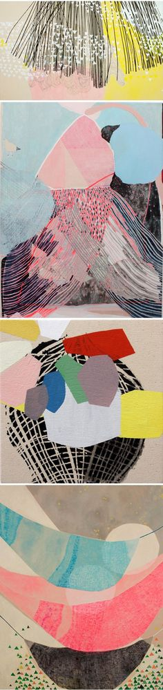 """Misato Suzuki lives in Los Angeles and her paintings feature glorious colors and elements of repetition, brought to life through scale and interaction. Collage Kunst, Collage Art, Painting Inspiration, Art Inspo, Color Inspiration, Graphisches Design, Art Graphique, Art Plastique, Oeuvre D'art"