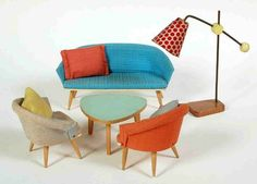 Vintage dollhouse Living room from Bodo Hennig with the rare original cushions