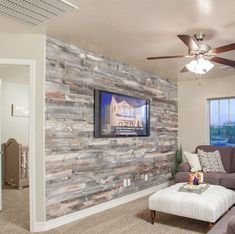 -Reclaimed Solid Wood Wall Paneling Solid Reclaimed Wood Wall Paneling in Cody See it Wooden Accent Wall, Diy Wood Wall, Plank Walls, Wood Panel Walls, Barn Wood Walls, Pallet Walls, Rustic Walls, Accent Walls In Living Room, Living Rooms