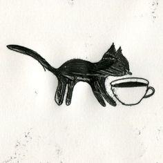 Black cat  black coffee  #elleaimetekent Gail Mounier.elleaime drawingchallenge #illustration #illustrator #monotype #monotypie #printmaker #doodle #drawing #quicksketch #instaart #illustagram #instadraw #instadoodle #instadrawing #handdrawn #blackcoffee #blackcat #catlovers #illustrationchallenge #illustrationprompts #drawingeveryday #sketchaday #drawingaday