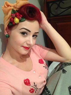 Vintage up-do victory rolls scarf red hair color, fruit fascinator