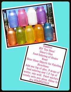 Vase Crafts, Mason Jar Crafts, Mason Jars, Bottles And Jars, Glass Jars, Sea Glass, Jars Of Sweets, Small Space Interior Design, Painted Jars