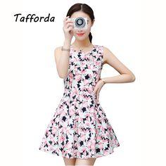 b67b2849131 Tafforda 2017 Summer New Women s Korean Slim Small Fresh Dress Long  Paragraph Sleeveless Floral Sexy Waist Dress Female Tunic-in Dresses from  Women s ...