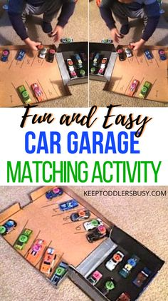 This Awesome Toddler Matching Activities Using Cars and a DIY Garage is Super Easy to Make and Your Toddler will Enjoy this Activity Over and Over again.