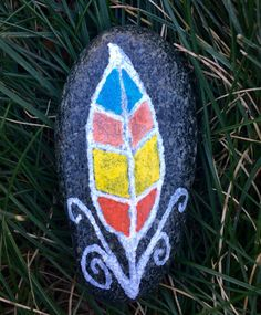 Feather Design Painted on a Sea Stone by AlicePlusMary on Etsy