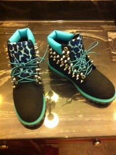 TURQUOISE/BLACK LEOPARD SPIKED TIMBERLAND (JUNIOR SIZES 3.5-7) from Bscllybangin12 on Storenvy
