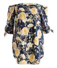Navy & Yellow Floral Off-Shoulder Dress - Plus #zulily #zulilyfinds