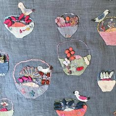 A spot of Sophie Digard loveliness for this Easter long weekend. Embroidery Thread, Embroidery Applique, Cross Stitch Embroidery, Embroidery Designs, Learning To Embroider, Textiles, Textile Artists, Fabric Art, Yarn Crafts