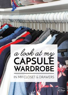 Come take a look at my minimal Capsule Wardrobe in my closet & drawers! I love how compact my wardrobe is, and getting dressed is a breeze! My Wardrobe, Capsule Wardrobe, Clever Closet, Smart Strategy, No Closet Solutions, Plastic Shoe Boxes, Plastic Shoes, Closet Drawers, Minimalist Wardrobe