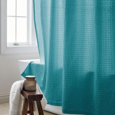 2db7090a4cd The Company Store Basket Weave 72 in. Lagoon Shower Curtain The Company  Store