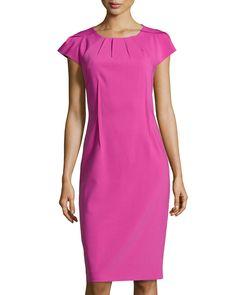 Crepe Pleated-Neck Sheath Dress, Peony