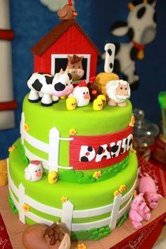 cumpleaños la granja de zenon Farm Animal Cakes, Farm Animal Party, Farm Animal Birthday, Zoo Birthday, Barnyard Party, Cowboy Birthday, Farm Party, First Birthday Parties, Party Fiesta