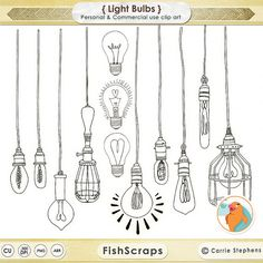 Light Bulb Clip Art - Silhouttes - Outlines - Digital Stamps Hand Drawn Doodles + Photoshop Brushes