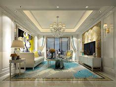 3d Living Room, Ceiling Design Living Room, Living Room Styles, Living Room Designs, Bedroom Sitting Room, Mansion Interior, 3d Models, Luxury Interior Design, Elegant Homes