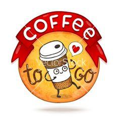 Cute cartoon coffee badge vector by kostolom3000 on VectorStock®