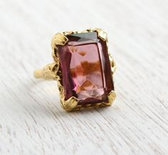 Vintage Purple Glass Stone Ring - Signed Sarah Coventry Twilight 1970s Gold Tone Adjustable Costume Jewelry / Amethyst Purple by Maejean Vintage on Etsy, $16.00