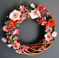 big wreath with ceraminc flowers non toxic, acrylic, eco paint and varnish. by MarrusCreations on Etsy Floral Wreath, Wreaths, Unique Jewelry, Handmade Gifts, Big, Flowers, Painting, Etsy, Vintage
