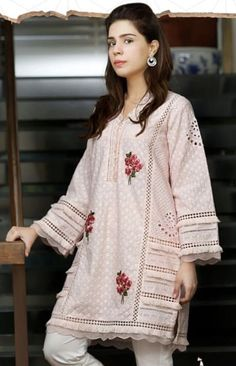 Chicken Cotton Kurti with Multi embroidery, lots of laces and panels. Stitched with delicacy and style Simple Pakistani Dresses, Pakistani Fashion Casual, Pakistani Dress Design, Pakistani Outfits, Fancy Dress Design, Stylish Dress Designs, Sleeves Designs For Dresses, Dress Neck Designs, Stylish Dresses For Girls