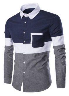 Long Sleeve Casual Panel Shirt - Cadetblue - - Men's Clothing Men's Tops & T-Shirts Men's Shirts # # Mens Shirts Sale, Cool Shirts For Men, Men's Shirts And Tops, Mens Designer Shirts, Stylish Shirts, Casual Shirts For Men, Men Casual, Men Shirts, Stylish Men