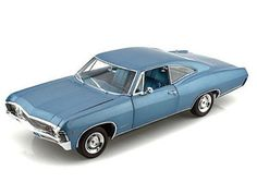 Chevrolet Impala SS (1967) Diecast Model Car by ERTL AMM999  This Chevrolet Impala SS (1967) Diecast Model Car is Blue and features working steering, suspension, wheels and also opening bonnet with engine, boot, doors. It is made by ERTL and is 1:18 scale (approx. 25cm / 9.8in long).