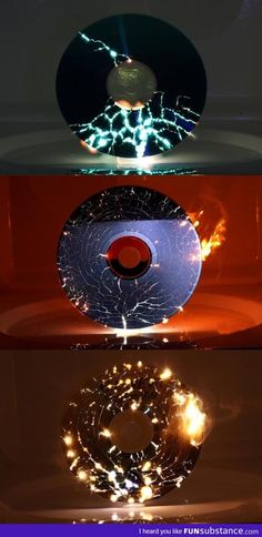This is what happens to a CD when you put one in a microwave