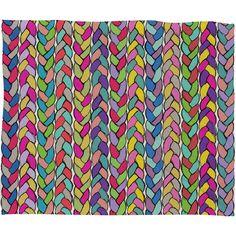 DENY Designs Home Accessories | Bianca Green Braids Rainbow Fleece Throw Blanket