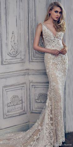 Calla Blanche spring 2017 bridal sleeveless deep v neckline full embellishment elegant ivory color sheath wedding dress open v back chapel train (17103) mv #wedding #bridal #weddingdress