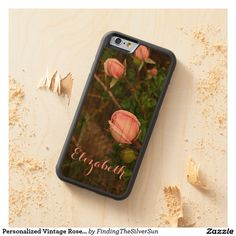 Personalized Vintage Rosebuds Wooden Phone Case #phonecase #rose #pinkrose #rosebud #vintage #woodphonecase