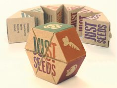 A no-waste seed packaging design. Made out of biodegradable paper and perforated for simplicity. Just tear off a triangle, plant it (paper and all), and watch it grow.