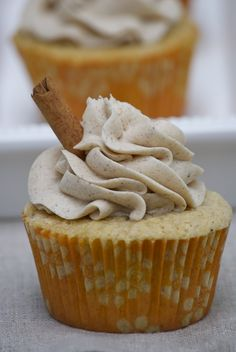 Vanilla chai cupcakes with cinnamon buttercream frosting.