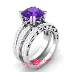 2.40 Ct Purple Round Cut Wedding Ring Set 925 Sterling Silver Engagement Ring with Matching Band Set 10K White Gold Finish Promise Ring Set by Finger2Heart on Etsy