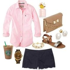 """navy and pink!"" by the-southern-prep on Polyvore minus the Starbucks by fanny"