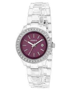 Fossil Women's ES2611 Clear Plastic Bracelet Purple Glitz Analog Dial Watch $83.00