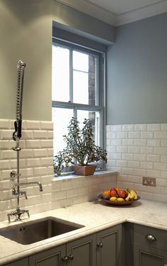 KITCHEN / BEVELED SUBWAY TILE...shows tile layout without upper cabinets or tile molding