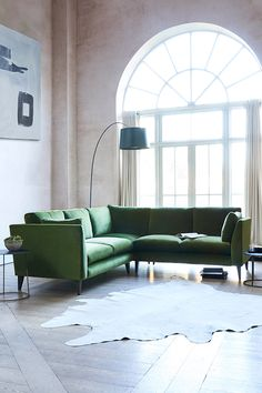 A corner sofa is the ideal space-saving piece of furniture and is becoming increasingly popular. Green Corner Sofas, Corner Sofa Living Room, Living Room Plan, Green Sofa, Home And Living, Corner Sofa In Kitchen, Pink Sofa, Colourful Living Room, Beautiful Living Rooms
