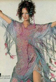 Karen Graham in Zandra Rhodes, Vogue 1970