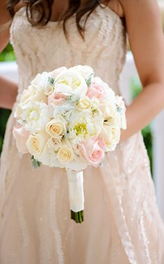 Timeless floral bouquet of blush and ivory roses