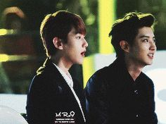 Baekyeol being the awkward lovebirds ≧◡≦ Exo Chanbaek, Kyungsoo, 5 Years With Exo, Exo Facts, Xiuchen, Korean Entertainment, Bts And Exo, Kpop, Korean Music