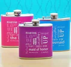*Bridal Party Personalized Color Flasks* These fun and colorful flasks will make a great accessory for the bachelorette bash!  Each flask features a design for the Bride and her Bridesmaids, including the Maid and Matron of Honor. #theweddingoutlet