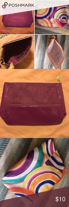 NEW Lancôme and Clinique Makeup Bags Purple bag is Lancome and multi-colored is Clinque. Both brand new. Last picture is with makeup items for size reference. Lancome Bags Cosmetic Bags & Cases