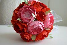 Paper flower bridal wedding bouquet pink and red paper flowers 1.paper anniversary bouquet wedding florist. (FE298638)