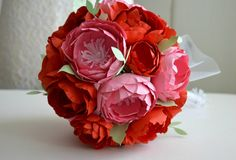 Paper flower bridal wedding bouquet pink and red paper flowers 1.paper anniversary bouquet wedding florist. (FE298638)