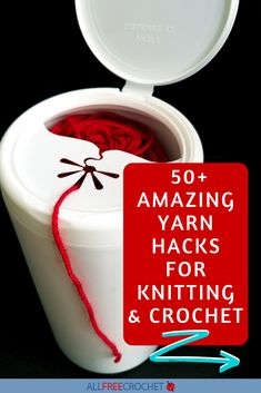 THE BEST CROCHET AND KNITTING HACKS |We're sharing yarn hacks, crochet hook hacks, crochet supply hacks, pattern hacks, and more. Take a look we're sure you'll leave with so many more ideas as well as inspiration to improve your crocheting time. #crochethacks #knittinghacks #yarnhacks All Free Crochet, Knit Or Crochet, Crochet Stitches, Crochet Hooks, Macrame Patterns, Crochet Patterns, Easy Yarn Crafts, Crochet Supplies, Easy Art Projects