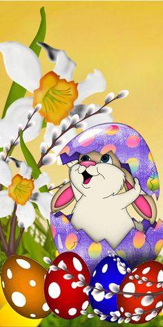 Easter Art, Easter Crafts, Easter Bunny, Easter Eggs, Easter Wallpaper, Thanksgiving Wallpaper, Images Noêl Vintages, Easter Illustration, Bunny Images