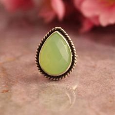 Lime green ring - Green Chalcedony Ring - Artisan ring - Tear drop $98.00