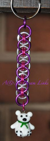 Helm weave keychain  made with anodized and bright aluminum rings