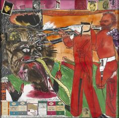 R.B. Kitaj (American, 1932-2007), The Killer-Critic Assassinated by his Widower, Even, 1997. Oil and collage on canvas, 152 × 152 cm