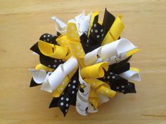 Black & yellow bumble bee korker hair bow  by BrownEyedBowtique, $5.00